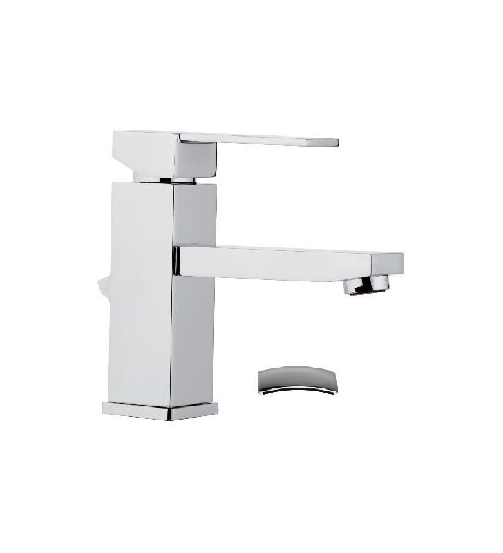 Miscelatore qubika per lavabo design moderno completo di piletta Remer Q1X