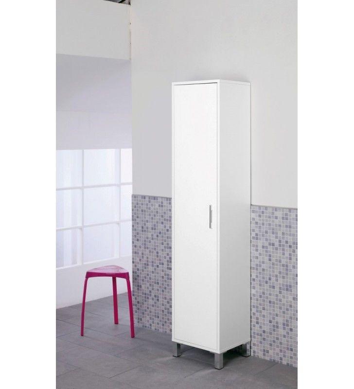Colonna armadio 40x35x180cm laccato bianco for Armadio bagno bianco