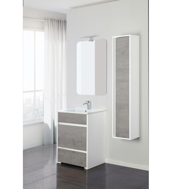 MOBILE BAGNO FAMILY 60CM B.CO/CEMENTO