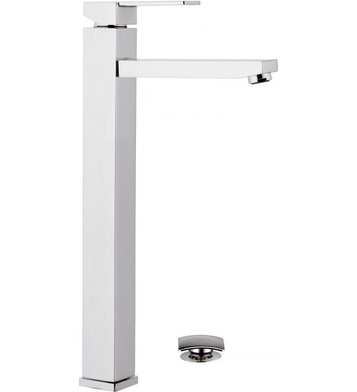 Miscelatore moderno QUBIKA quadrato con bocca lunga per lavabi a bacinella