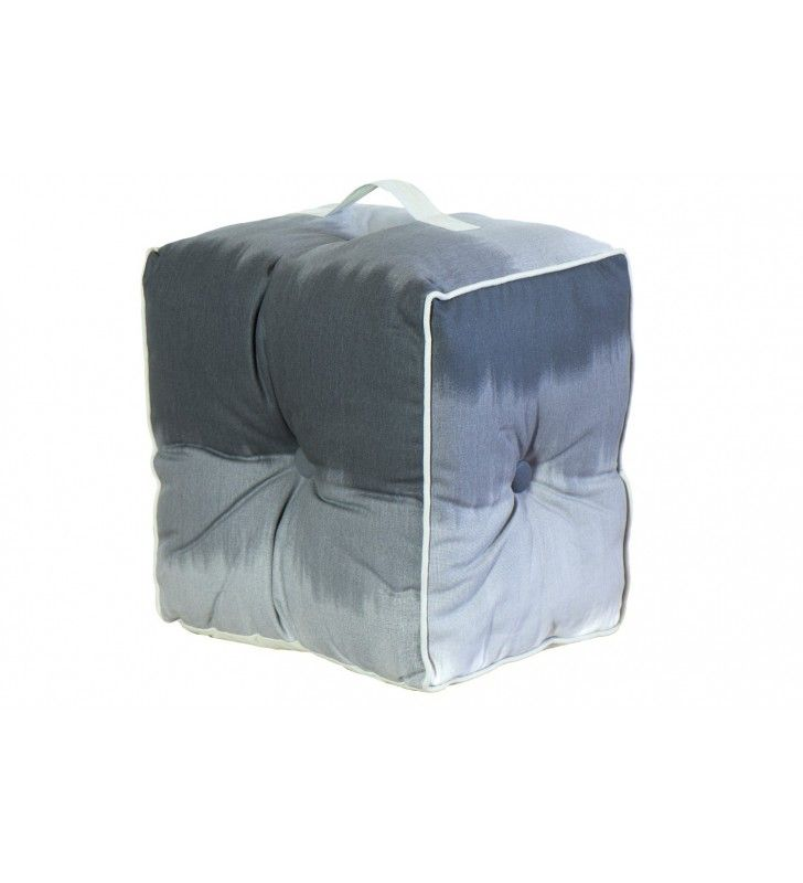 Pouf lipari in cotone grigio scuro 40x40x30