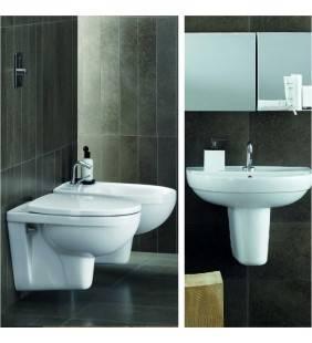Set completo sanitari sospesi selnova 3: lavabo con semicolonna, wc con sedile e bidet Pozzi Ginori setselnova3sospeso