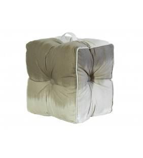 Pouf lipari in cotone beige 40x40x30