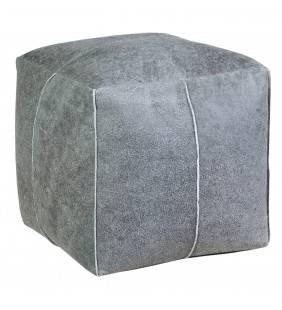 Pouf cubo in pelle grigio 38x38x38 Juteco POUFPEQGRI