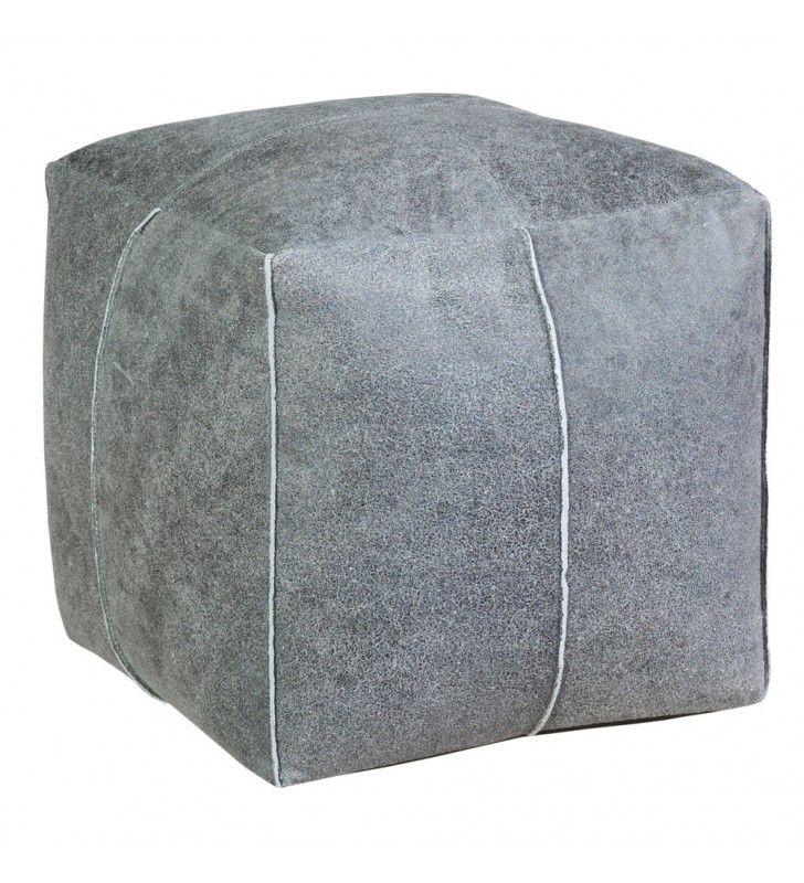 POUF CUBO in pelle grigio 38x38x38