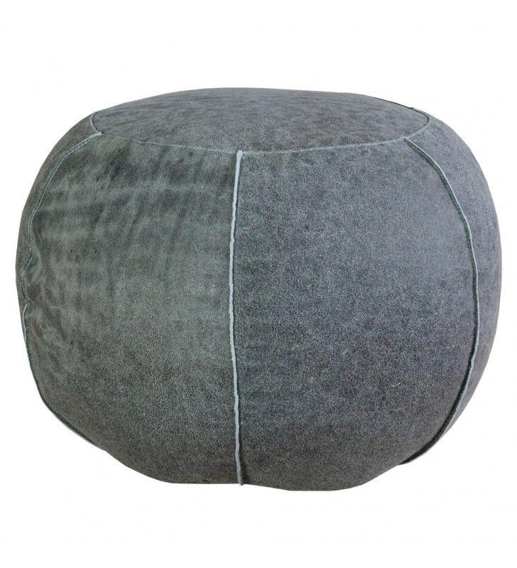 POUF TONDO in pelle grigio 50x35 h