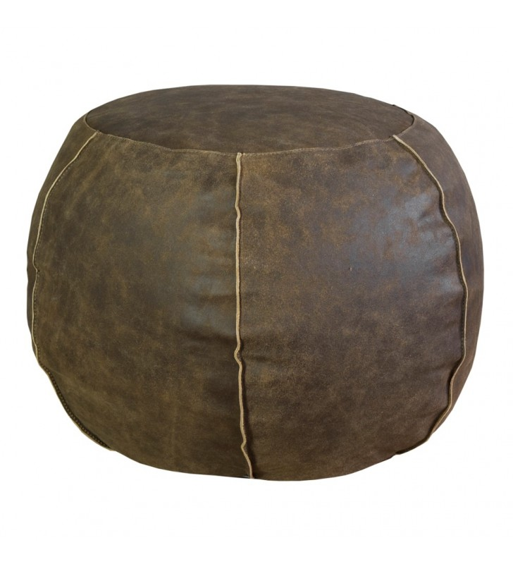 POUF TONDO in pelle marrone 50x35 h