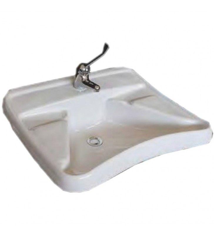 Lavabo ergonomico bianco con appoggiagomiti