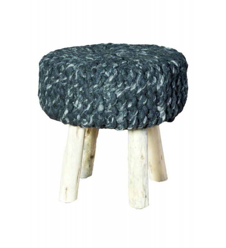 Pouf in legno e lana grigio scuro 40x40x40 Juteco POUFLEGRI