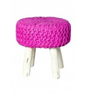 Pouf in legno e lana rosa 40x40x40