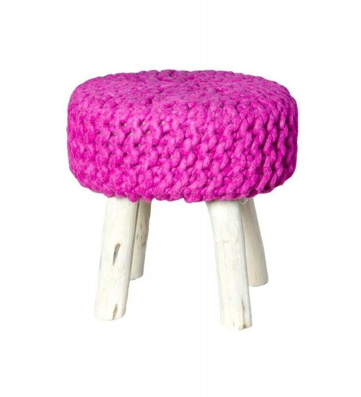 POUFin rosa legno e lana 40x40x40