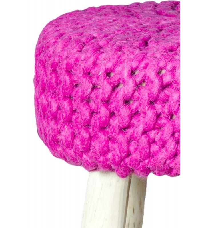 Pouf in legno e lana rosa 40x40x40 Juteco POUFLEROSA