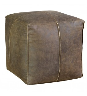 POUF CUBO in pelle marrone 38x38x38