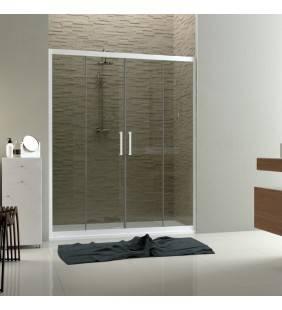 Parete doccia a nicchia 140-150 in vetro con profili bianchi linux Forte srl BEV4203104501
