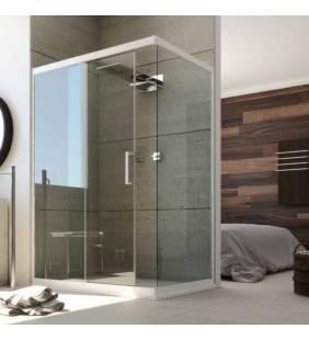 Box doccia angolare 100x80 con profili bianchi e creistallo trasparente 6mm unix Forte srl BEV4101+BEV4302