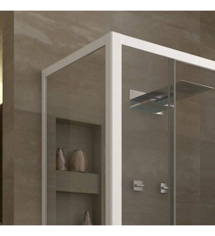 Cabina doccia rettangolare due lati 110-120x80 cristallo trasparente 6 mm, profili bianco linux Forte srl BEV4201+BEV4302