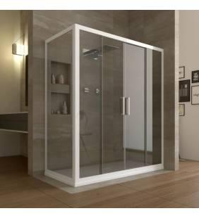 Cabina doccia ad angolo 110-120x70 h 190,4 finiture bianco e vetro trasparente linux Forte srl BEV4202+BEV4300
