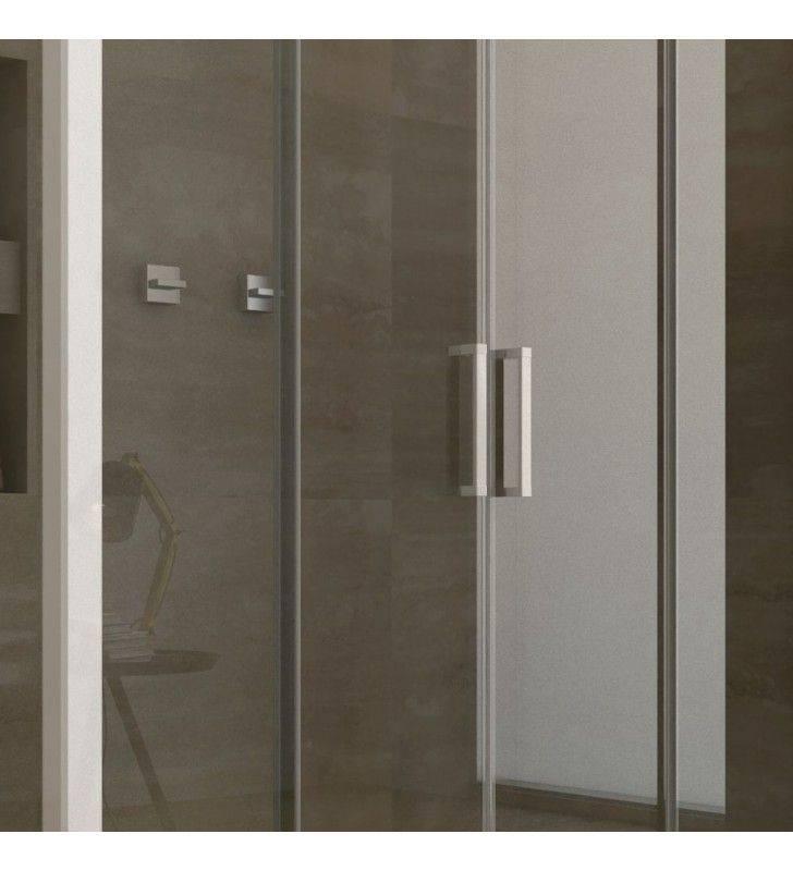 Cabina doccia angolare 110-120x72-74 cristallo trasparente, reversibile linux Forte srl BEV4203+BEV4301
