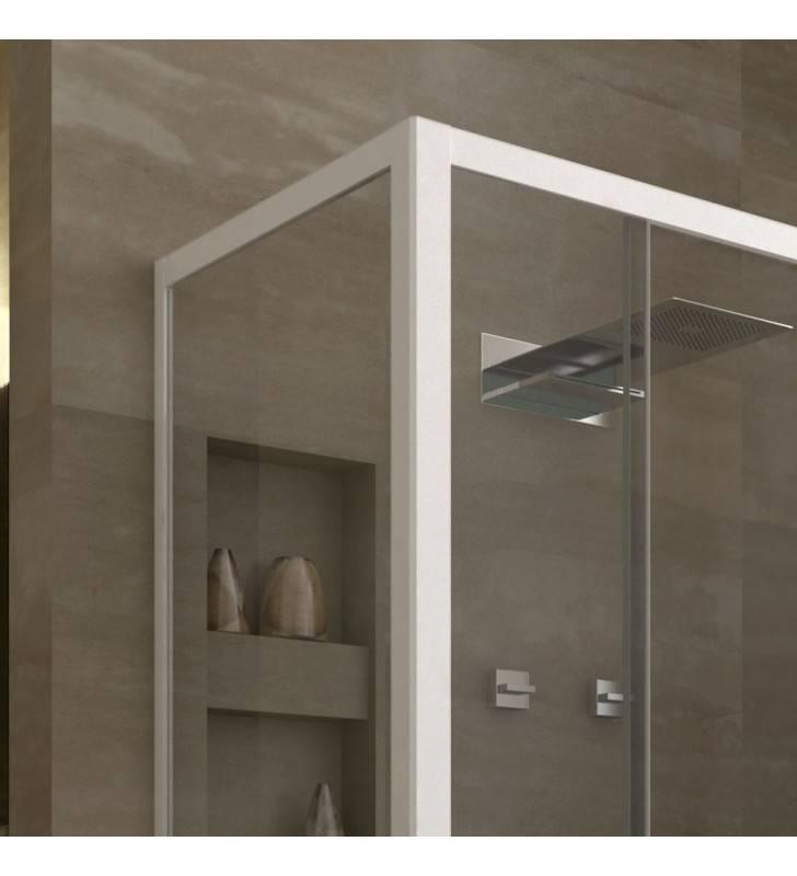 Box doccia angolare 110-120x70 vetro trasparente, profili bianco laccato linux Forte srl BEV4204+BEV4300