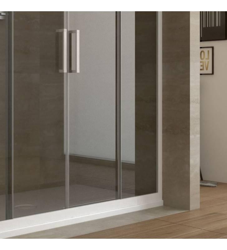 Box doccia angolare 110-120 x 72-74 h 190,4 vetro trasparente, profili bianco laccato linux Forte srl BEV4205+BEV4301