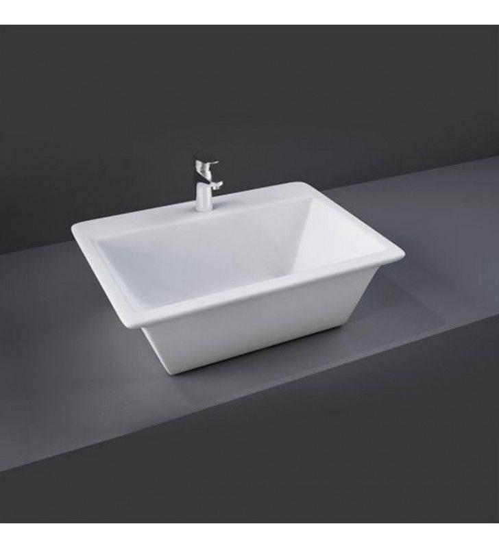 Lavabo da appoggio rettangolare in ceramica lea table top rak (MM3)