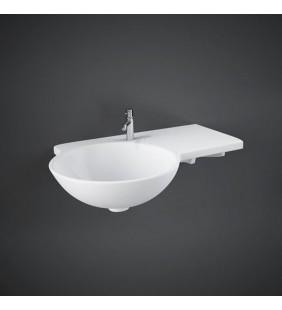 Lavabo sospeso asimmetrico in ceramica con tavolo a destra gina wash basin dx