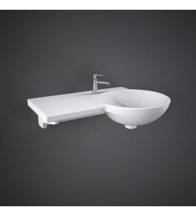 Bacinella da appoggio asimmentrico in ceramica con tavolo a sinistra gina wash basin sx