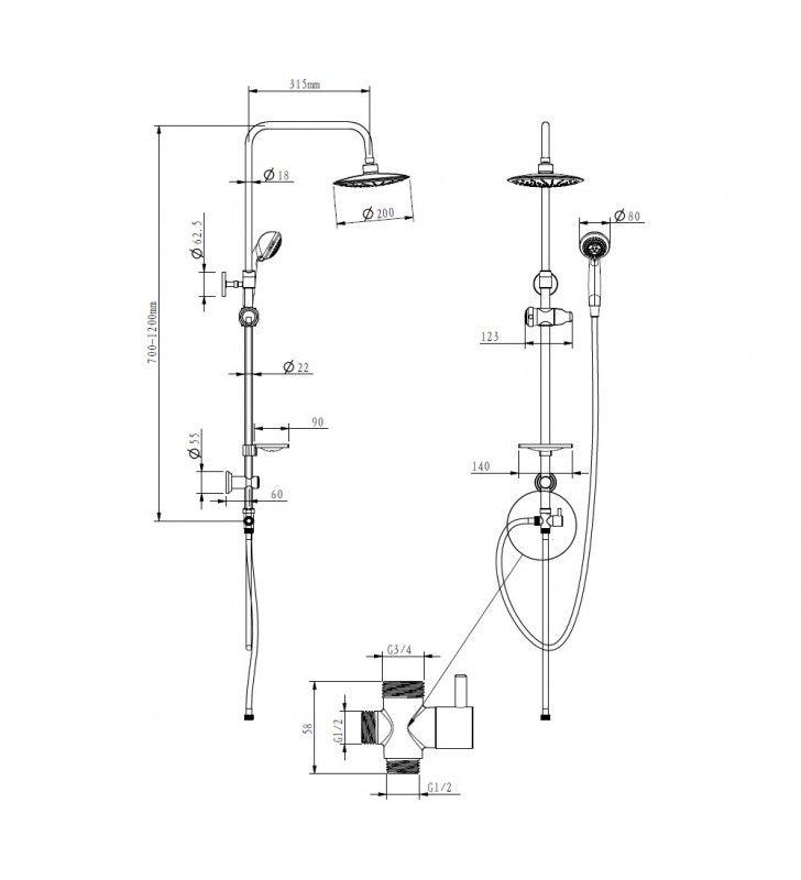 Colonna doccia serie star estensibile a 3 funzioni Idrobric SCACOL0017CR
