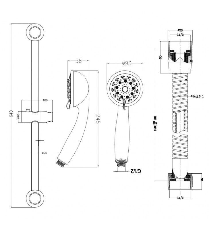 Saliscendi serie pratika 5 getti con attacco a ventosa e portasapone trasparente Idrobric BLISAL0041CR