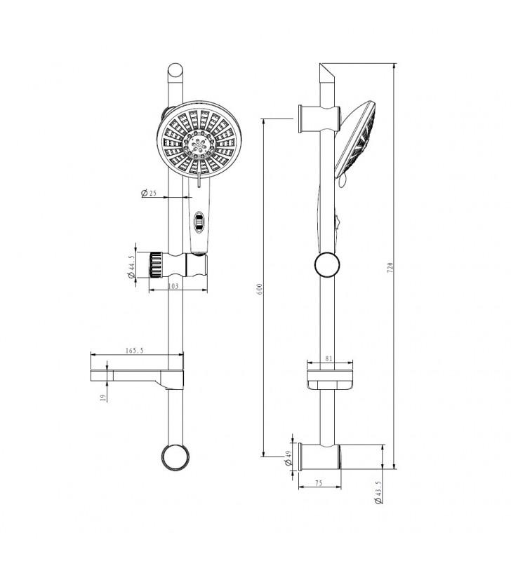 Saliscendi serie samba cromato 5 funzioni con risparmio acqua con portasapone Idrobric G1518 CROMATO