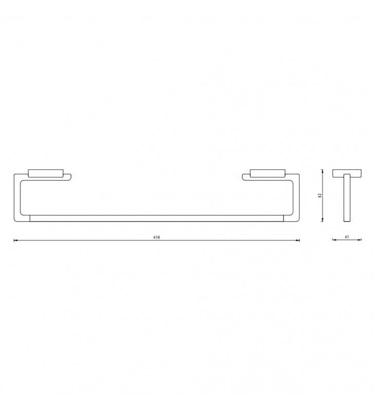 Porta salviette serie cubo a muro 45 cm - fissaggio ad incollo o con viti Aquasanit A20190BCR
