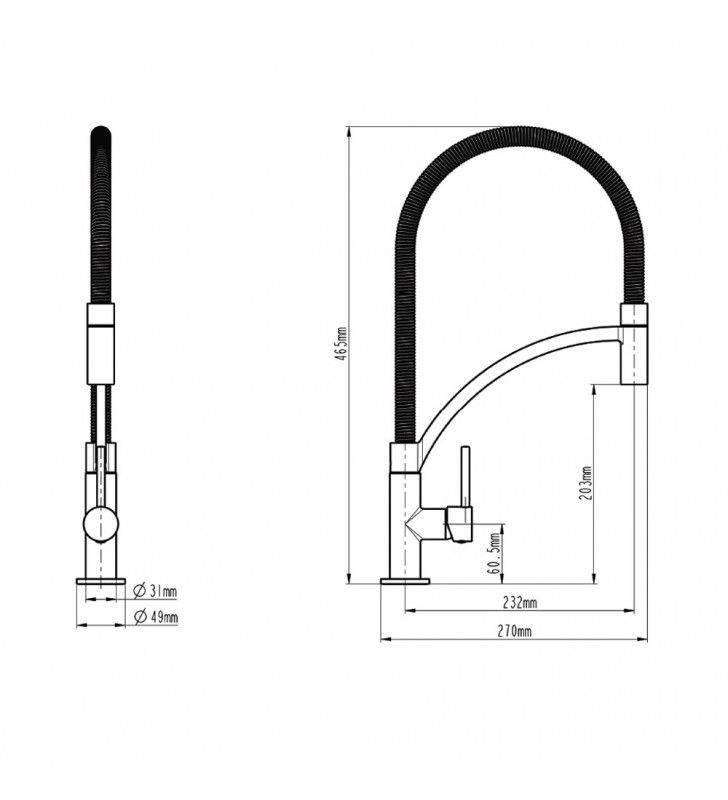 Miscelatore serie orlando per lavello cucina a bocca alta con doccetta estraibile monogetto Idrobric SCARUB0790AC