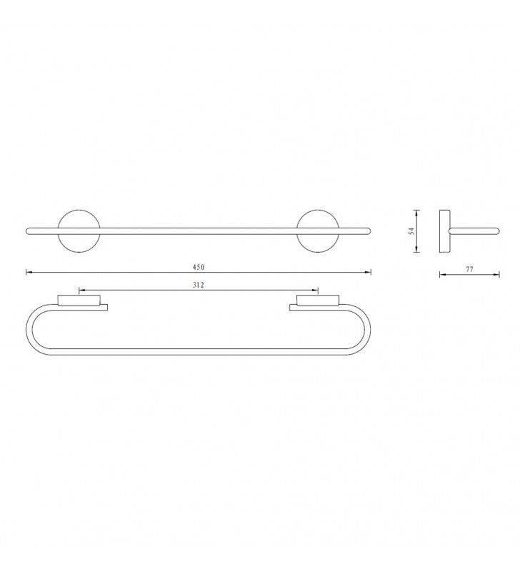Porta salviette serie wire 45 cm - fissaggio ad incollo o con viti Aquasanit A20090BCR