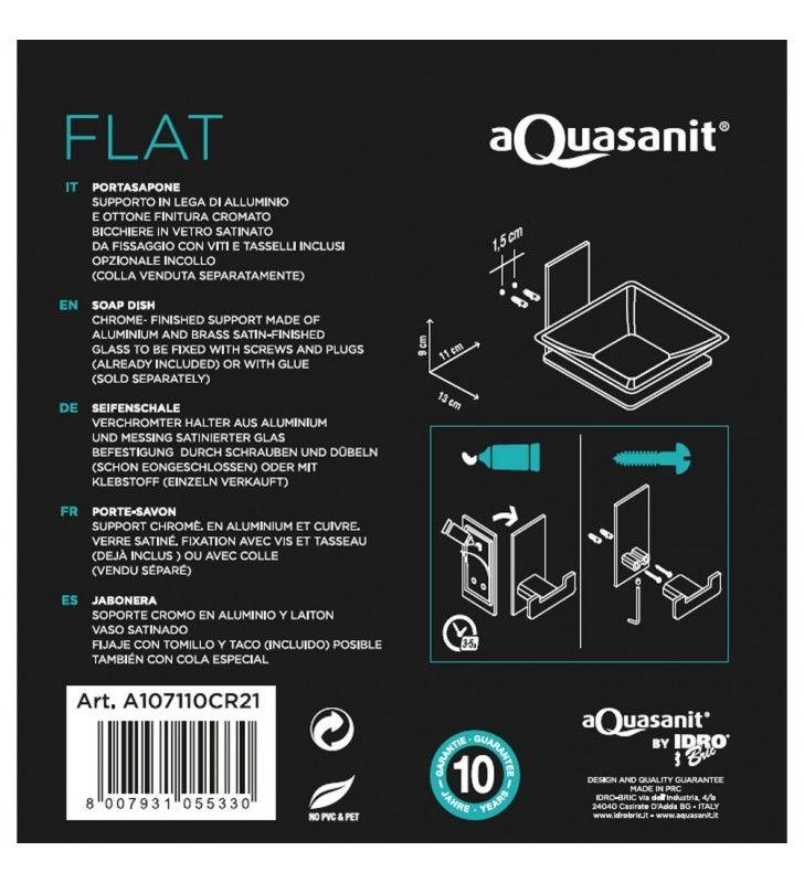 Porta sapone/bacinella serie flat - fissaggio ad incollo o con viti Aquasanit A107110CR21