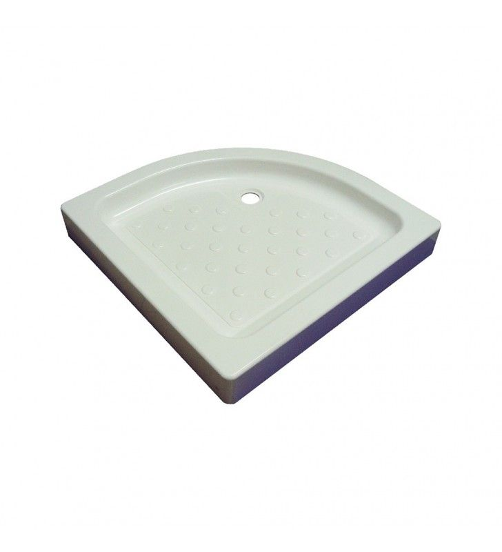 Piatto doccia in acrilico semicircolare 80 x 80 cm con sifone di scarico incluso
