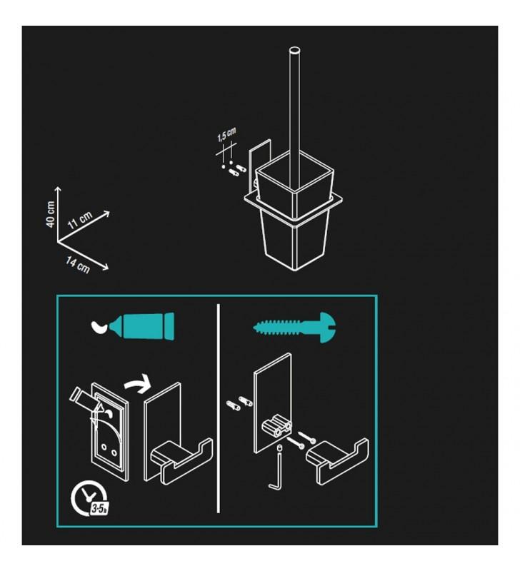 Porta scopino serie flat - fissaggio ad incollo o con viti Aquasanit A107140CR21