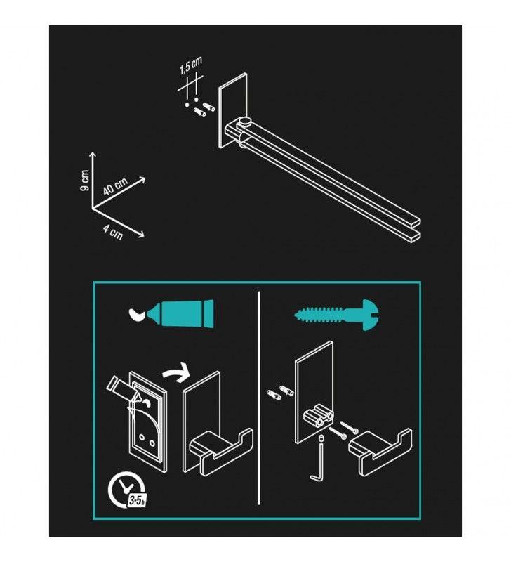 Porta salviette serie flat a snodo - fissaggio ad incollo o con viti Aquasanit A107150CR