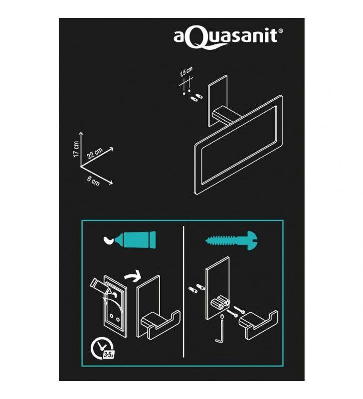 Porta salviette serie flat ad anello - fissaggio ad incollo o con viti Aquasanit A10716TCR