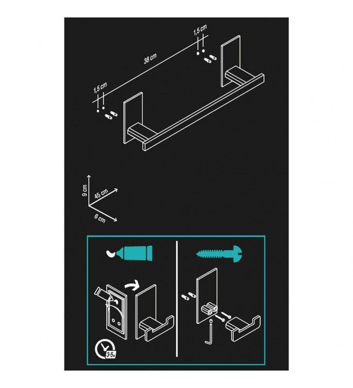 Porta salviette serie flat cm 45 - fissaggio ad incollo o con viti Aquasanit A10790BCR