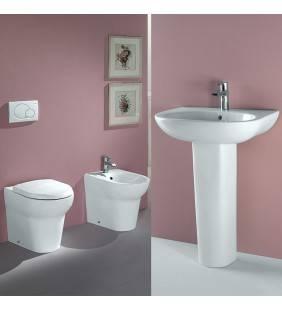 Set sanitari a terra serie infinity con lavabo 60cm con colonna Rak Ceramics Setinfinity