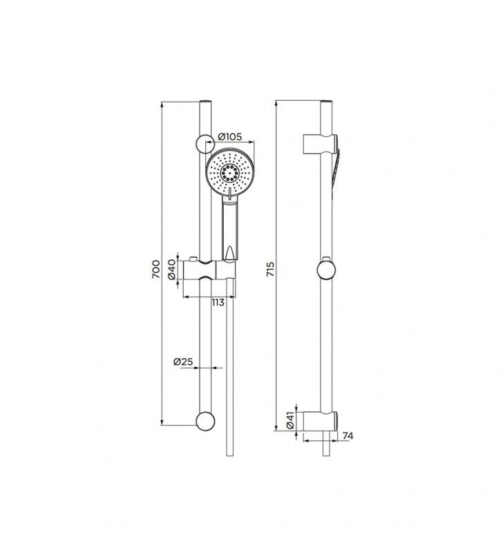 Saliscendi eolo, doccia 2 getti con risparmio acqua Idrobric BLISAL0118CR