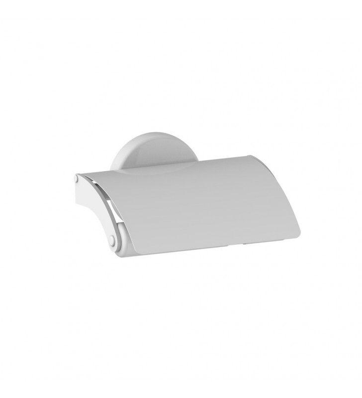 Porta rotolo bianco con coperchio serie lipari - fissaggio ad incollo o viti Aquasanit A83260BR