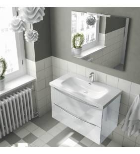 Composizione sospesa love 90 cm bianco lucido con due cassetti completa di specchio e led ROYO SCAMOB0032CP
