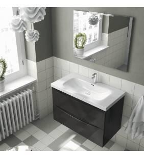 Composizione sospesa love 90 cm antracite lucido con due cassetti completa di specchio e led