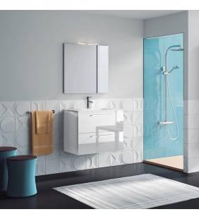 Composizione sospesa easy 80 cm bianco lucido completa di specchio e applique ROYO SCAMOB0040CP