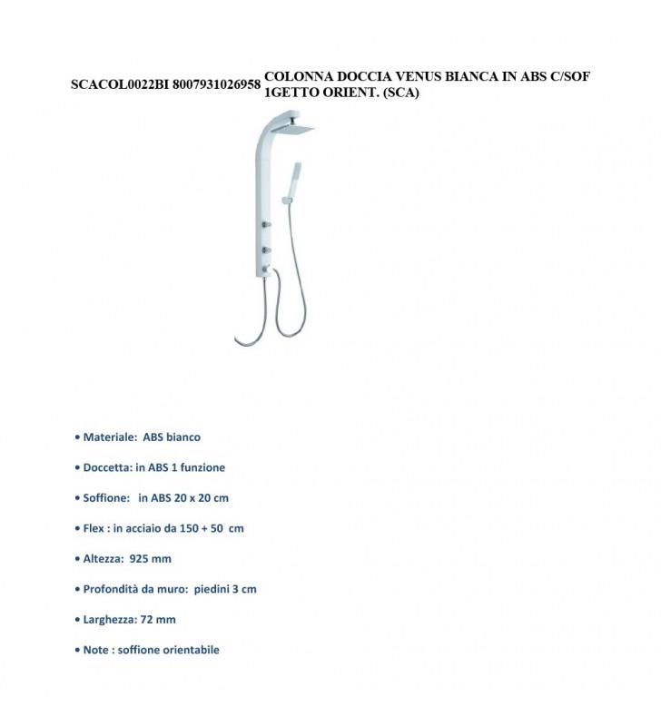 COLONNA DOCCIA VENUS IN ABS BIANCO OPACO CON DOCCINO A UN GETTO E SOFFIONE QUADRO Idrobric SCACOL0022BI