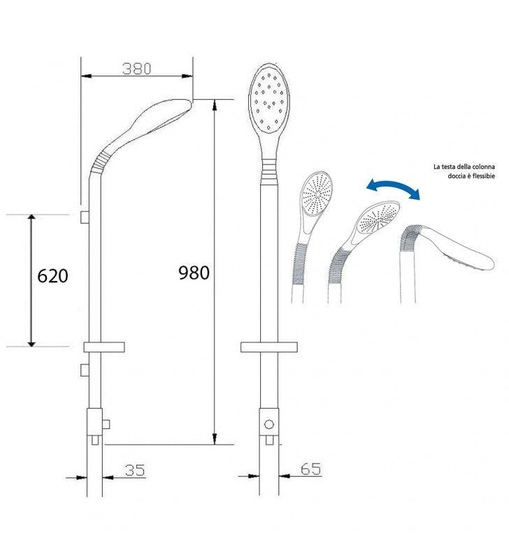 Colonna doccia iguana in alluminio satinato con testa snodabile Idrobric SCACOL0054CR