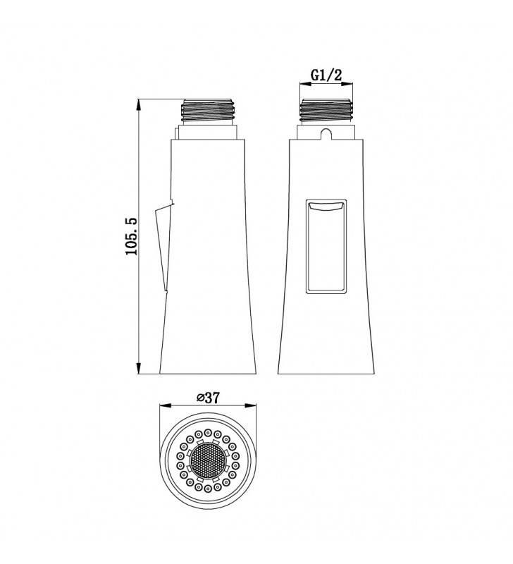Doccetta di ricambio per rubinetti lavello a due getti. Idrobric BLIDOC0179CR
