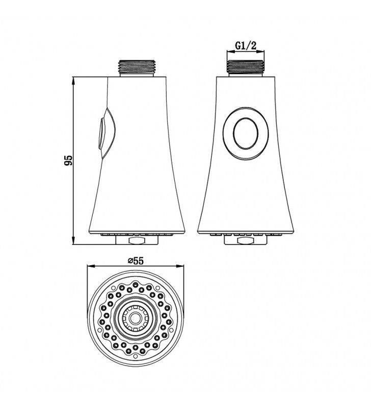 Doccetta a campana di ricambio per miscelatori lavello Idrobric BLIDOC0181CR