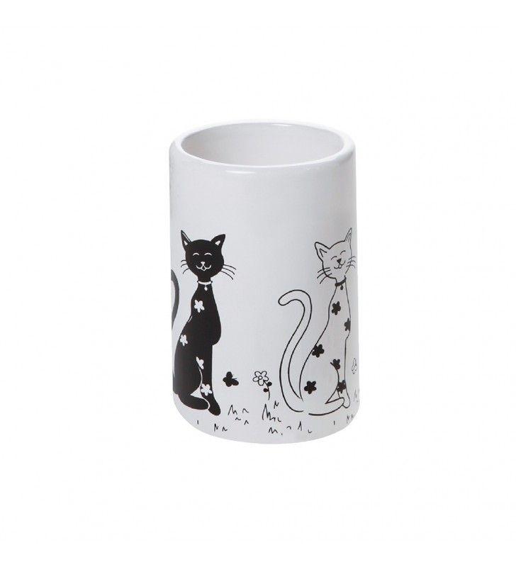 Aquasanit Serie Fibi QC7100 Bicchiere in Ceramica Bianco Decorato